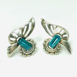 1940s Sterling Aqua Rhinestone Screw Back Earrings